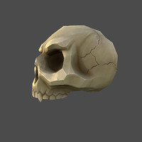 low-poly cartoon skull obj