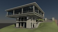 cantilever house building 3d model