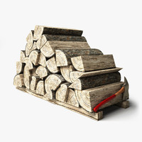 3d model logs wood old