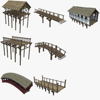 wooden bridges 3d obj