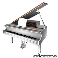3ds max white grand piano