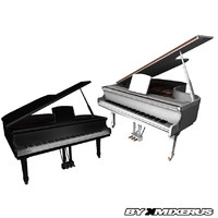 white grand piano package 3d model