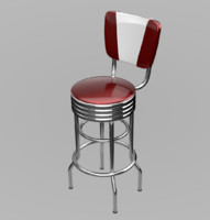 3d retro bar stool model