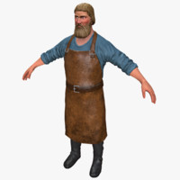 3d max blacksmith character man