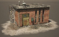 3d old industrial building
