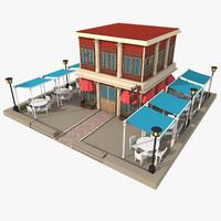 3d restaurant exterior