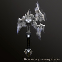 Fantasy Steampunk Glow Aura Axe - Low Poly