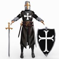 3d templar knight helmet