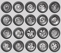 pack 1 2 car wheels 3d obj