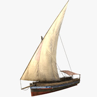 low-poly dhow fishing boat 3d model