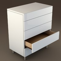 c4d modern white drawers