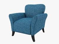3d caribbean blue linen chair