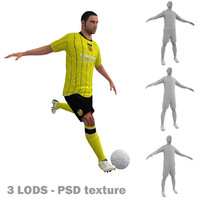 3d model of rigged soccer players