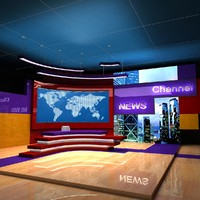 3d model of tv studio