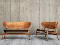 Hans Wegner shell settee bench