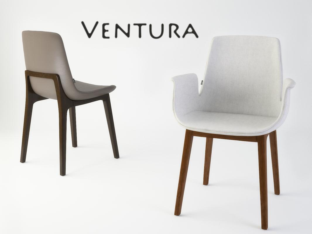 Ds max ventura dining chair poliform