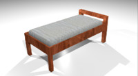 wooden bed 3d model
