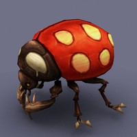 beetle insect cartoon 3d model