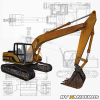 3ds max yellow excavator ready