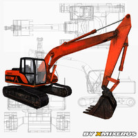 red excavator ready 3ds