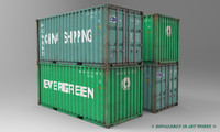 3d container shipping box