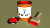 paint liquid color 3d obj