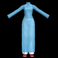 ao dai long dress 3d max