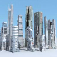 sci fi futuristic city 3d fbx