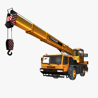 yellow man titan crane truck 3ds