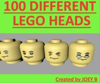 100 different lego heads 3d 3ds