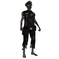 rigged zombie police 3d max