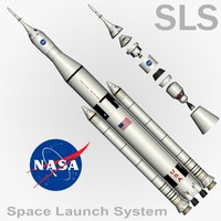 sls space launch 3d max