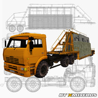 3d model kamaz truck trailer