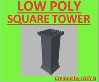 3d square castle wall tower