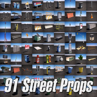 3d model urban street props pack