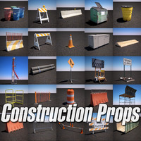 contains construction props pack 3d model