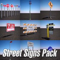 3d model urban street sign pack