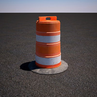 orange construction road barricade 3d max