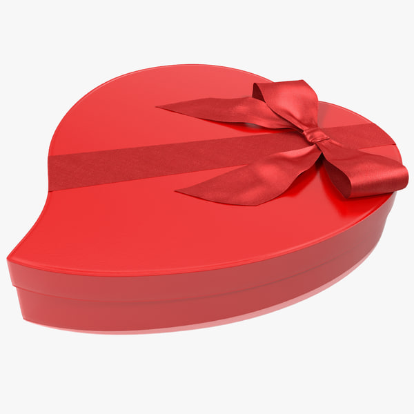 Gift Box Christmas Birthday present container valentine wrapped holiday xmas bow packaging giftbox decoration vray heart shape heartshape decor x-mas