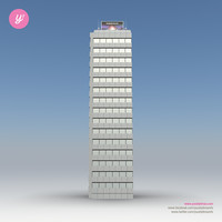 3d skyscraper 19 day night model