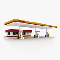 3d shell gas station convenience store model