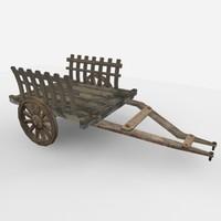 bullock cart 3d model