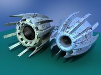 3d model pair jet engines pod racer