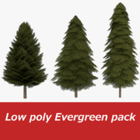 3d obj pack fir evergreen tree