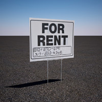3d model of rent sign