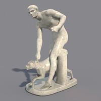 statue hunter dog 3d model