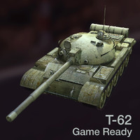 t-62 soviet main battle tank 3d model