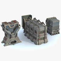 sci fi city buildings 3d max
