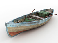 3d model wood fishing boat
