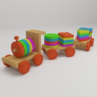 3d model of educational wooden toy train